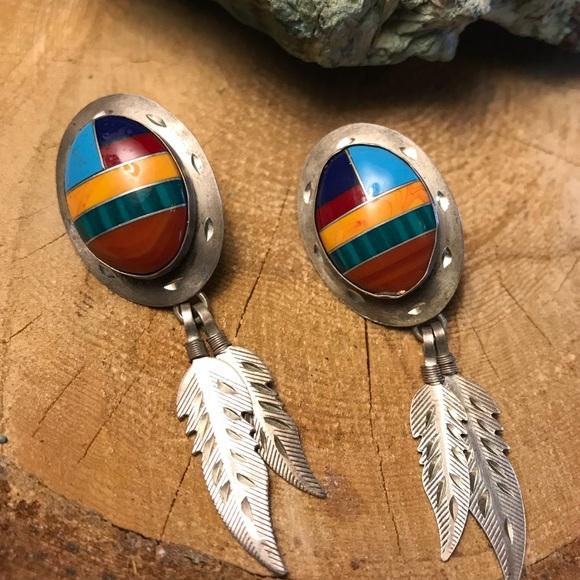 Native American Jewelry - Sterling Vintage Inlay Earrings